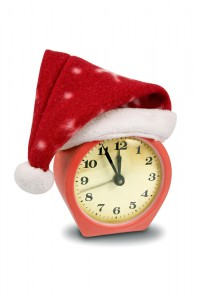 alarm clock in a Santa hat