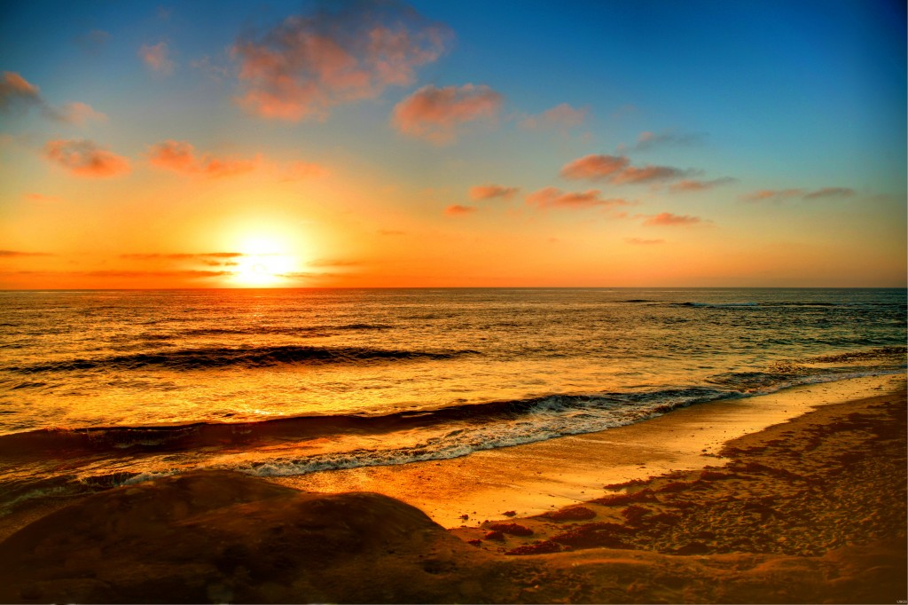 Sunset on a beach in LaJolla