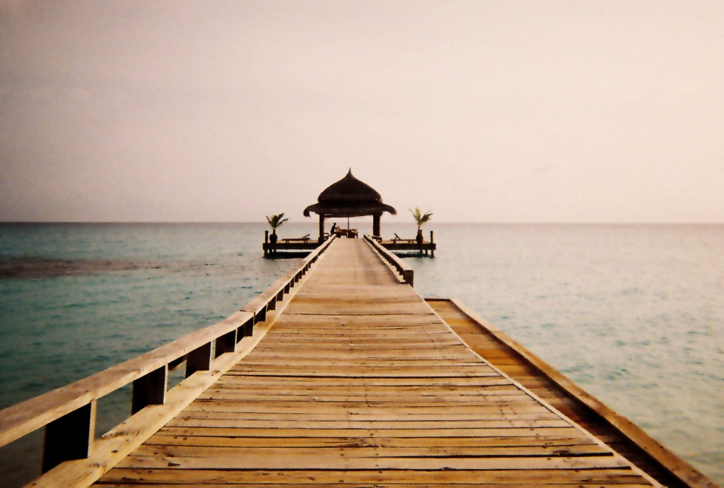 Photo of a pavilion on a pier in the Maldives.
